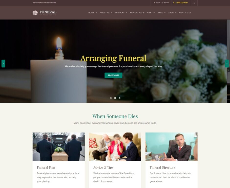 Funeral Funeral Services WordPress Theme