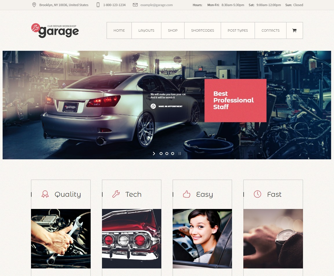Garage WordPress Mechanic and Car Parts Shop Theme