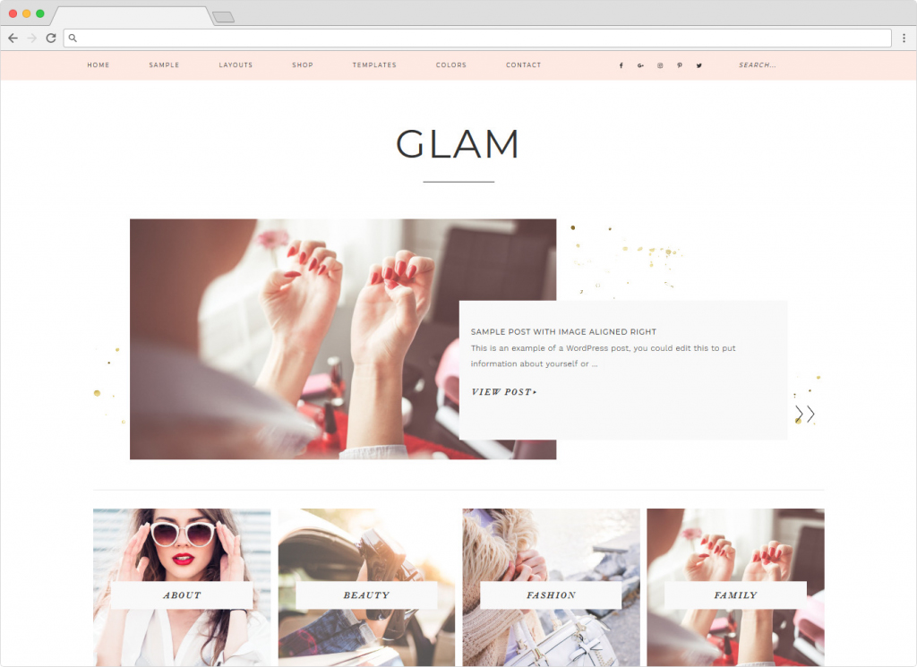 Glam Pro Feminine ECommerce Shopping Theme
