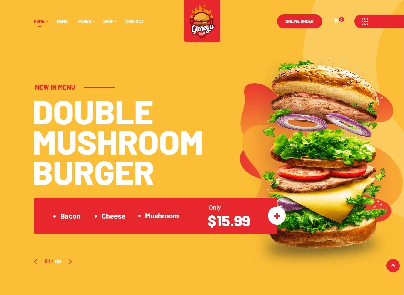 Gloreya Fast Food Restaurant WordPress Themes