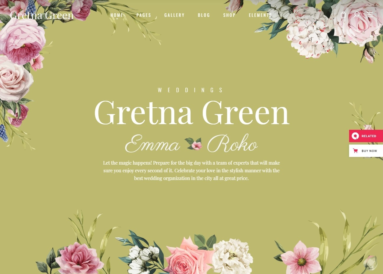 Gretna Green WordPress Theme for Wedding Planners