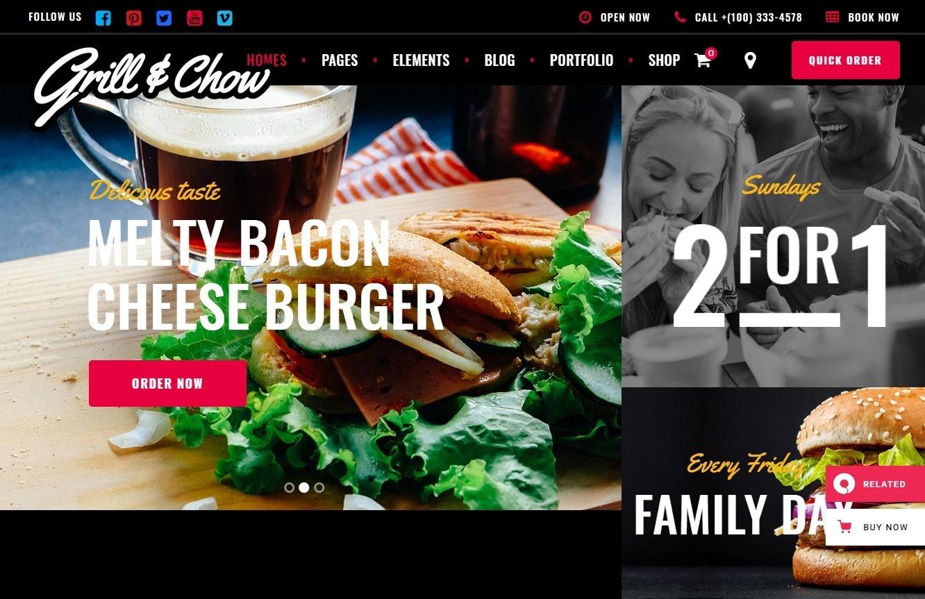 Grill and Chow WordPress Restaurant Theme for Fast Food