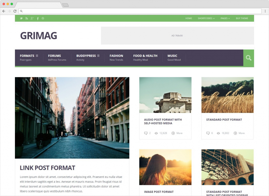 Grimag Flat WordPress SEO Friendly Magazine Theme