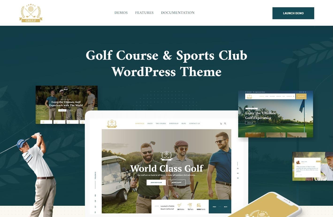 Grulf Golf Course Sports Club WordPress Theme