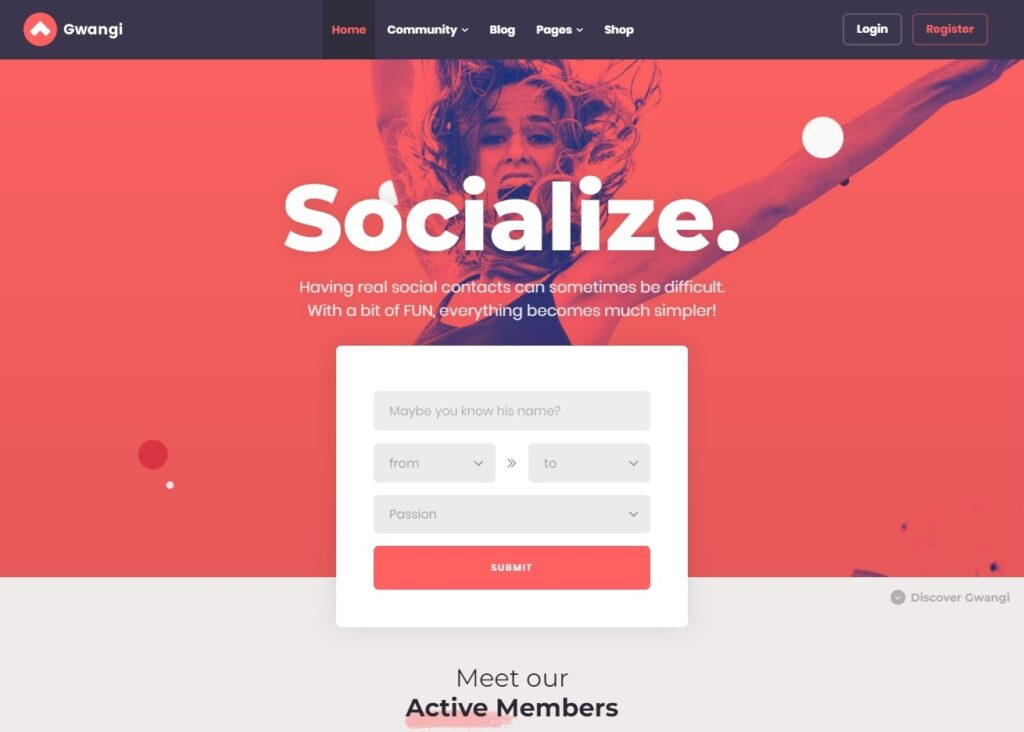 Gwangi WordPress Theme for BuddyPress Communities