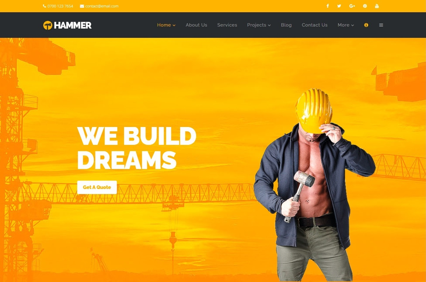 Hammer Multi Trade Construction and Contractors Theme