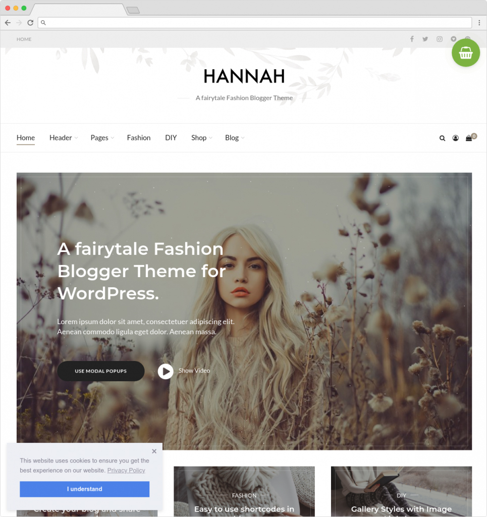 Hannah Fashion Blog and Lifestyle Blog and Magazine Theme