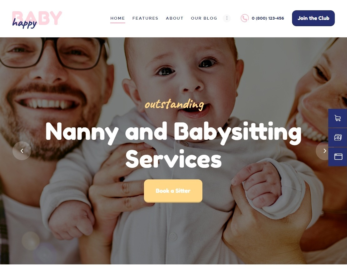 Happy Baby Babysitters Nannies and Mommy Blog Theme