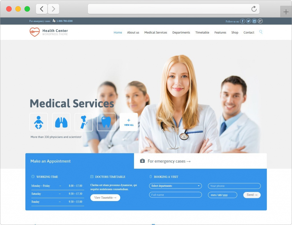 Health Center WordPress Medical Theme