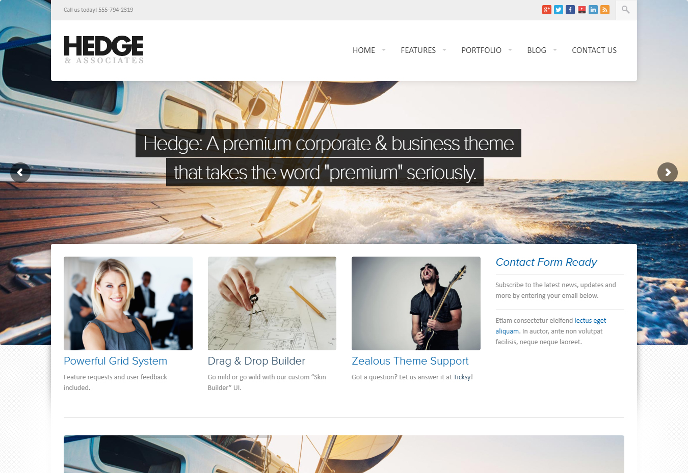 Hedge Powerful and Singular Corporate WordPress Theme