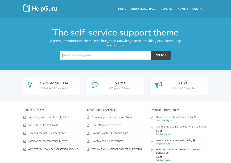 HelpGuru Powerful Self Service Support WordPress Theme