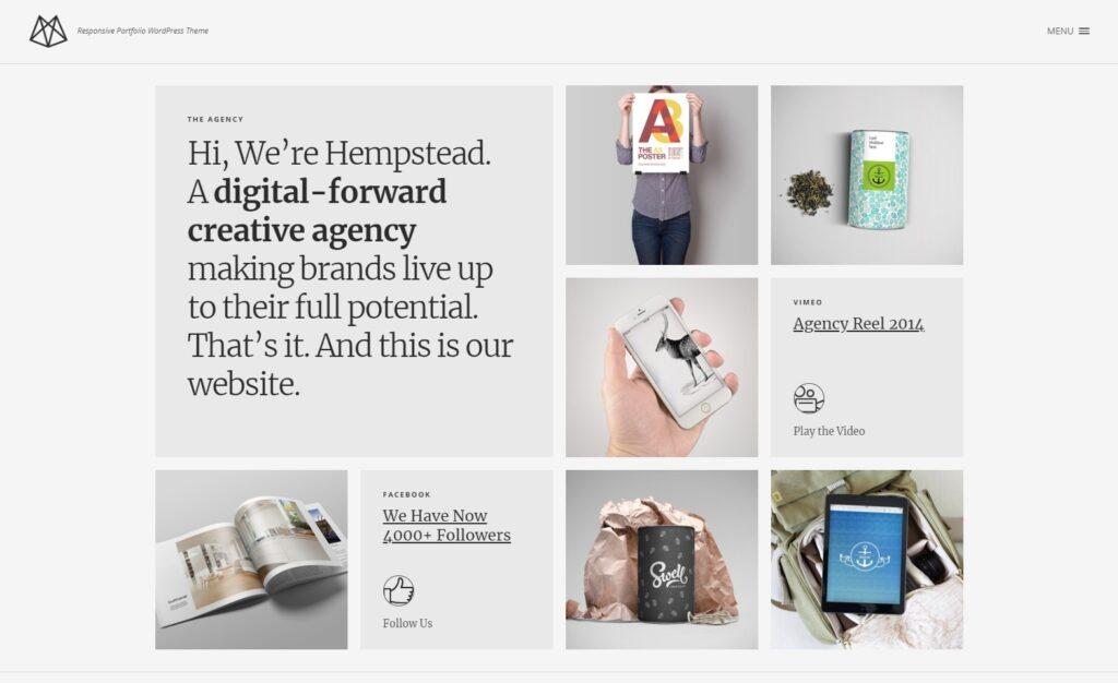 Hempstead Minimalist Responsive Portfolio Grid Theme