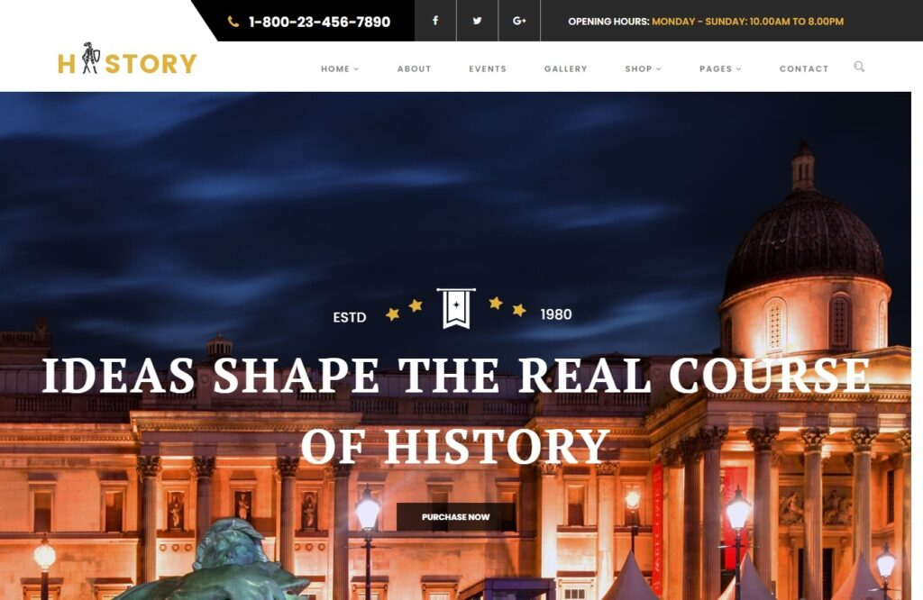 History WordPress Theme for Art Galleries and Museums