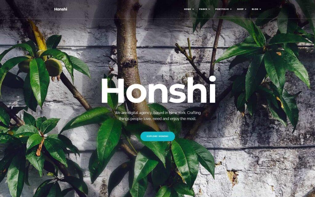 Honshi Single Page Landing Page WordPress Theme