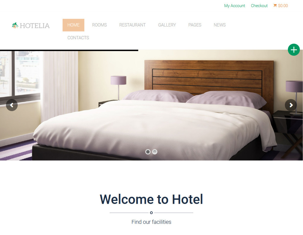 Hotelia Clean Crisp Hotel and Motel WordPress Theme