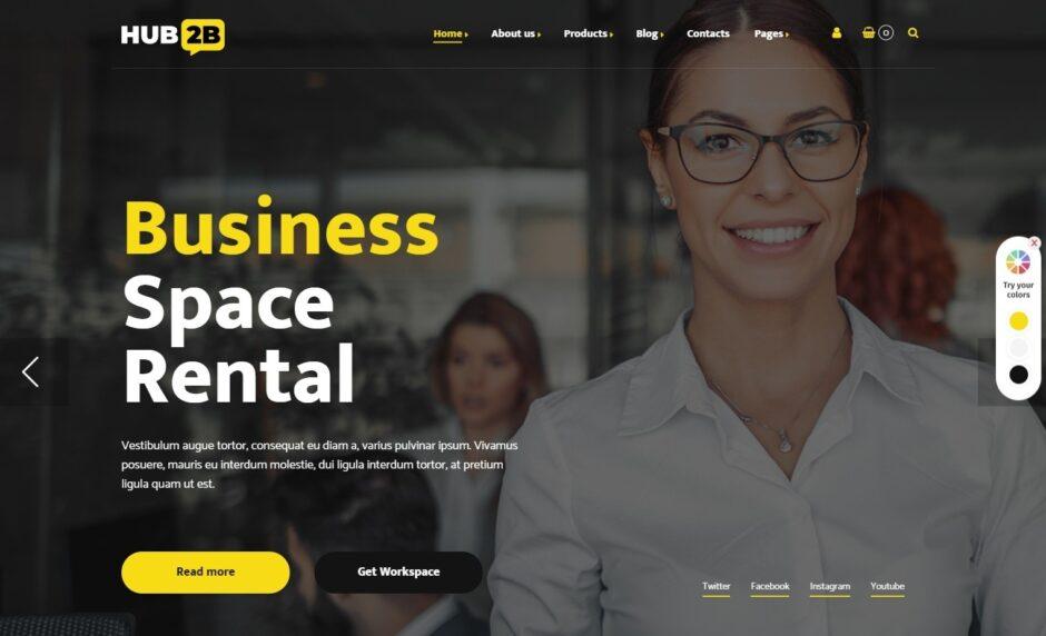 Hub2B WordPress Theme for Shared Office Rentals