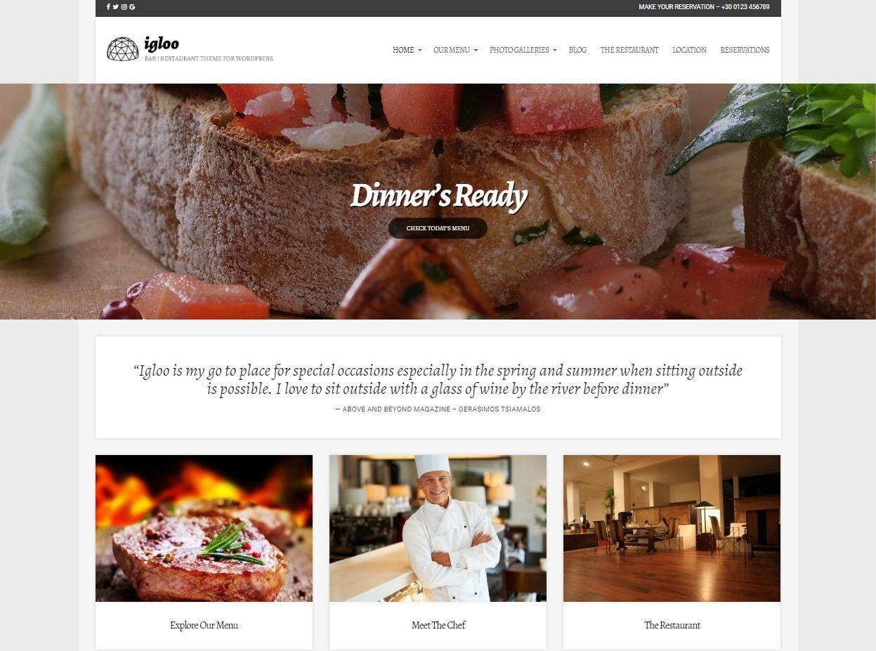 Igloo Beautiful Looking Restaurant Theme with a Classic Design