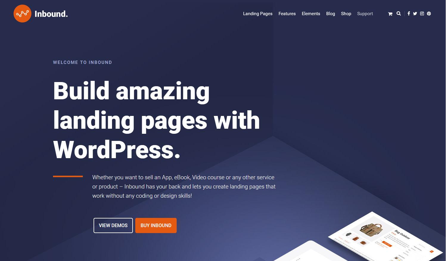 Inbound WordPress Landing Page Builder Theme