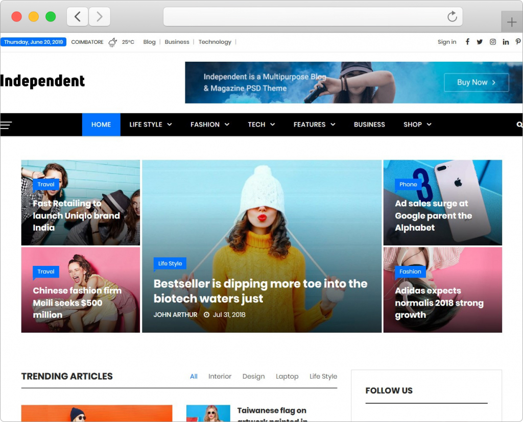 Independent Multipurpose Personal Blog And Magazine Theme
