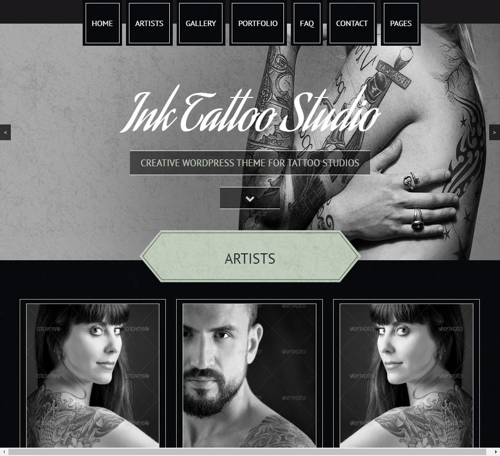 Ink Tattoo Studio Creative WordPress Theme for Tattoo Studios