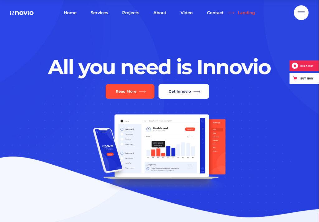 Innovio One Page Landing Page WordPress Theme