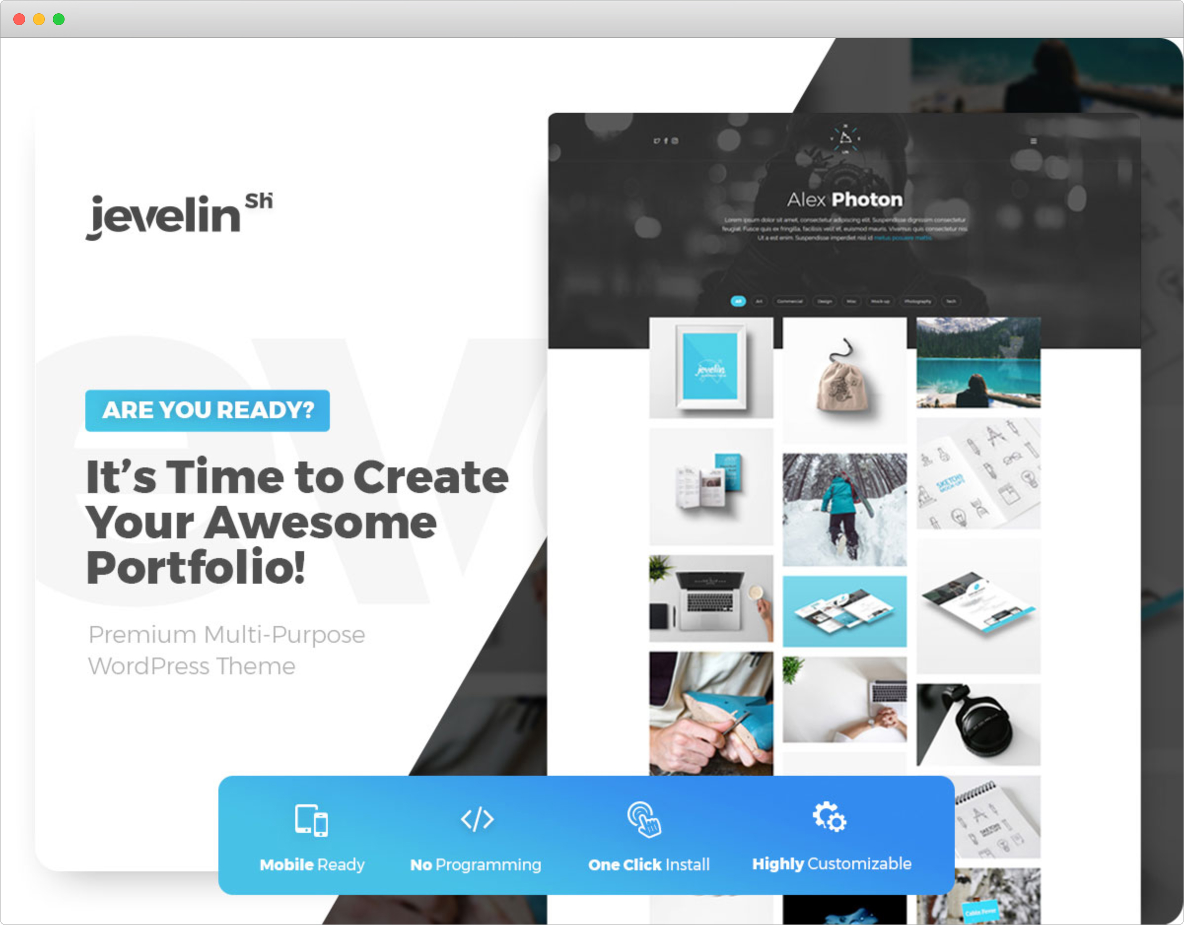 Jevelin WordPress Theme with Cool Grid Layout