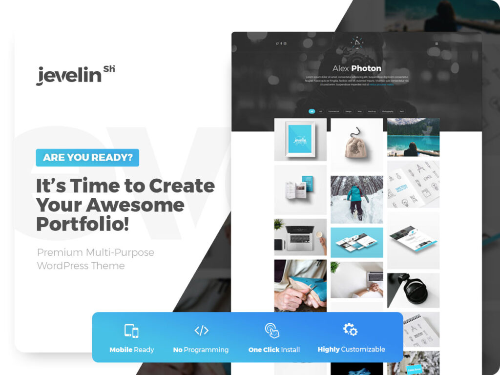 Jevelin WordPress Theme with Grid Layout