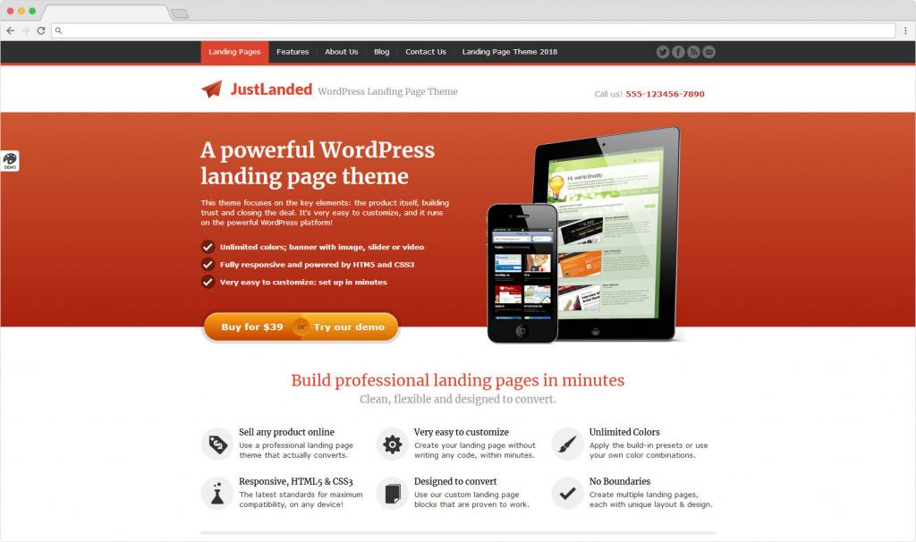 JustLanded WordPress Landing Page Business Themes