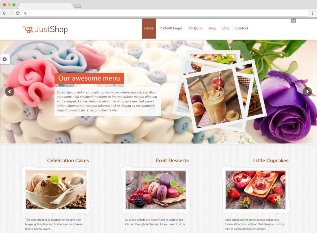 JustShop Feminine Baking WordPress Blog Theme