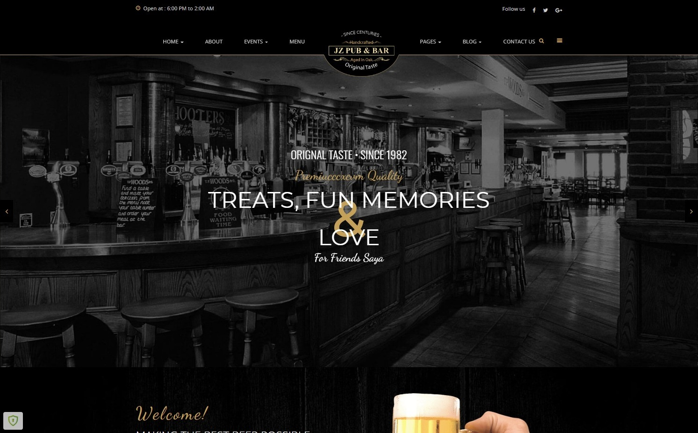 Jz Pub Bar Best WordPress Theme for Breweries