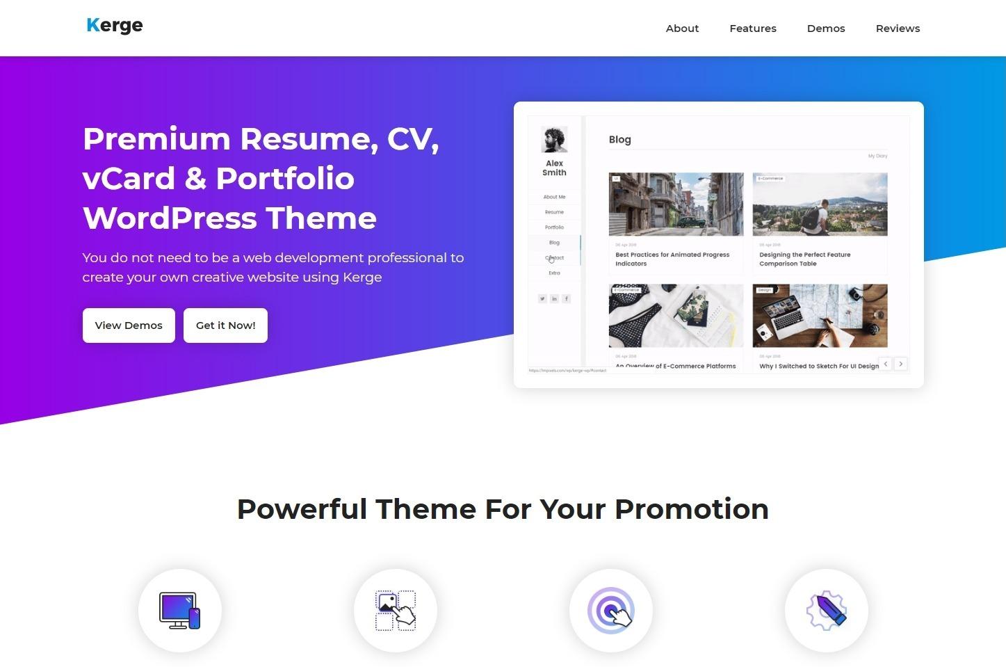 Kerge Premium Personal Portfolio and Promo Tool Theme