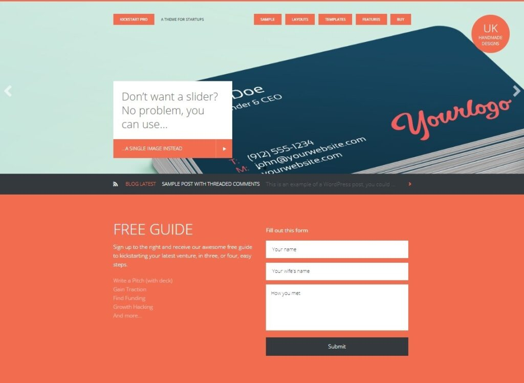 Kickstarter WordPress Theme for Startups and Splash Pages