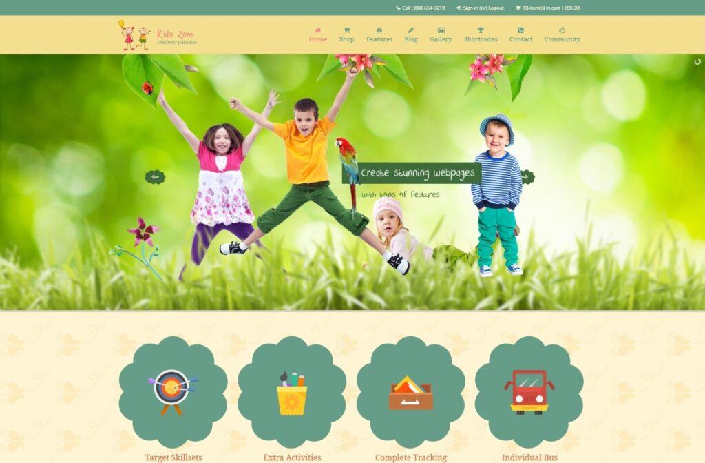 Kids Zone Children WordPress Education and eCommerce Theme