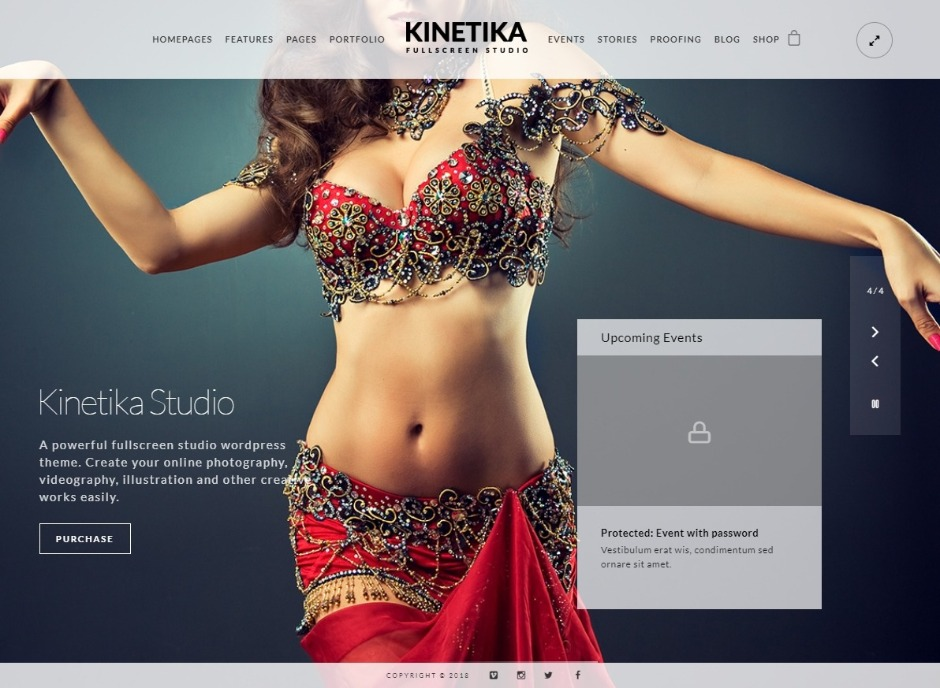 Kinetika Fullscreen Video An Photography WordPress Theme