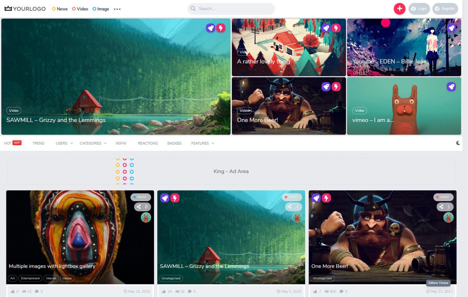 King Video Magazine WordPress Theme