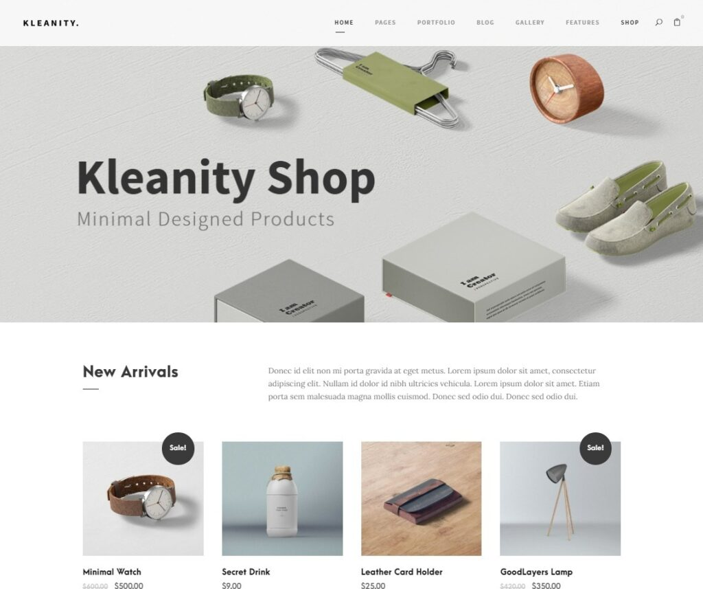 Kleanity WooCommerce Home Page Design