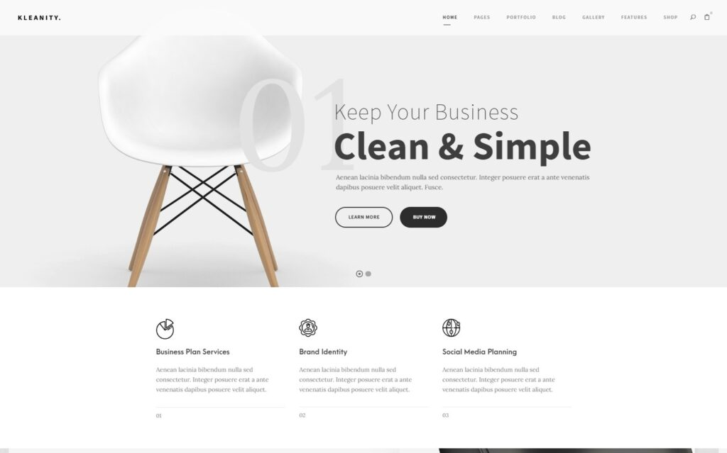Kleanity WordPress Minimalist Theme for Blogs and Shops