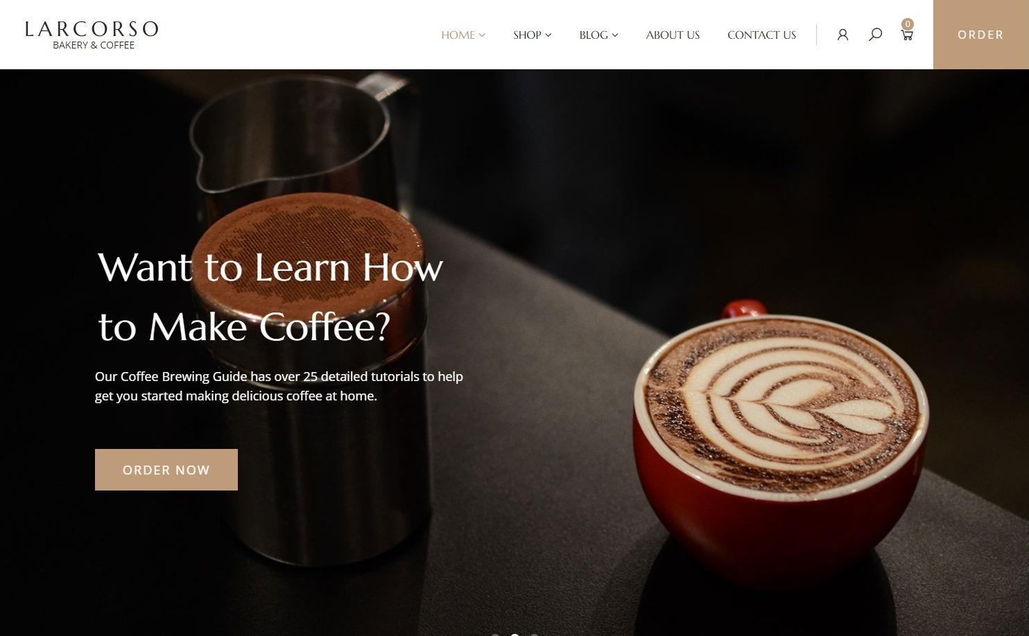 Larcorso Coffee Shop WordPress Theme
