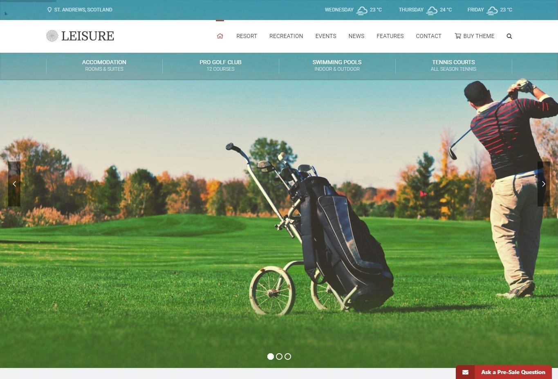 Leisure Hotel WordPress and Golf Resort Theme