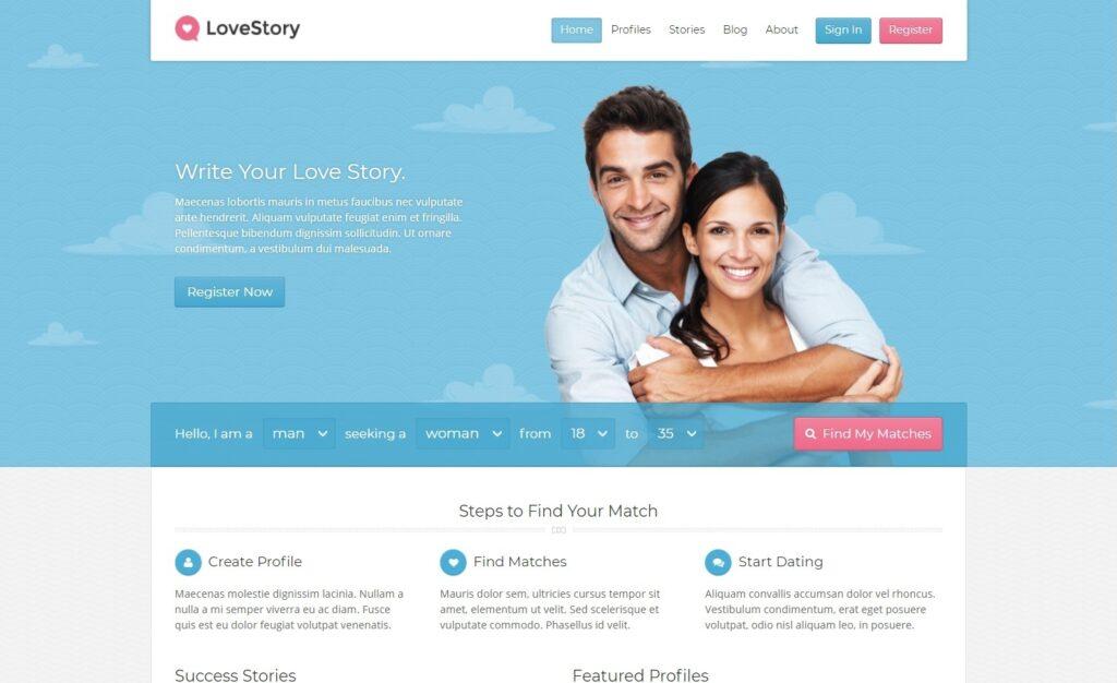 Love Story WordPress Dating Website Theme