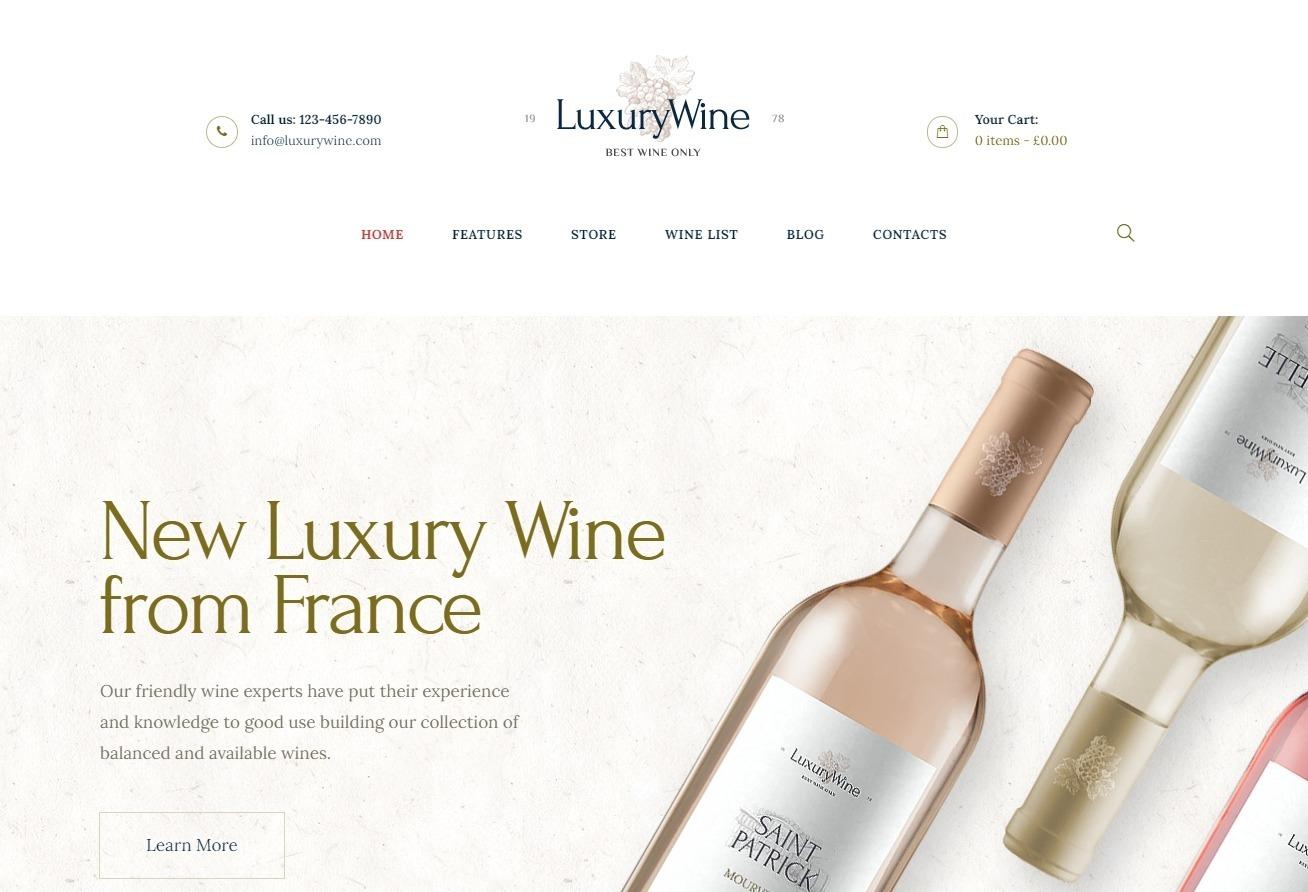 Luxury Wine WordPress Theme for Wine Shops and Bars