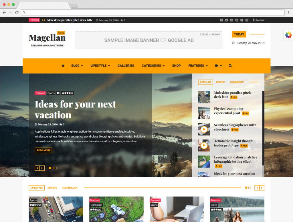 Magellan WordPress Magazine Theme For Travel Blogs
