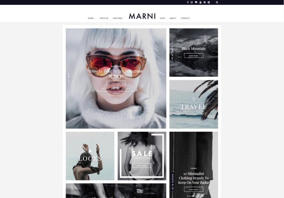 Marni Minimalist WordPress Grid Theme