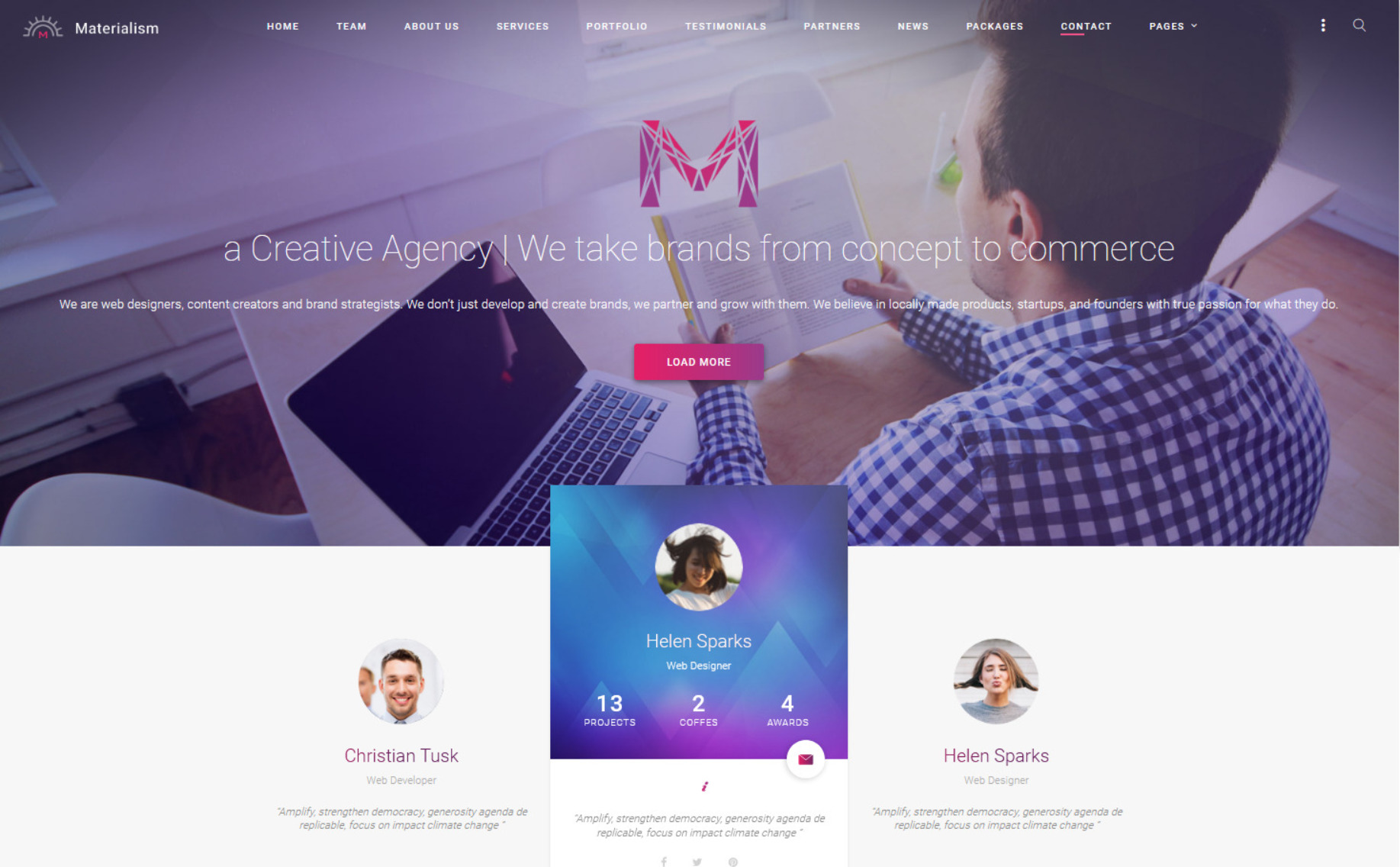 Materialism Modern Professional Creative Agency WP Theme