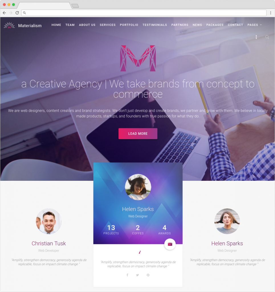 Materialism Responsive WordPress Full Service Multimedia Agency Theme