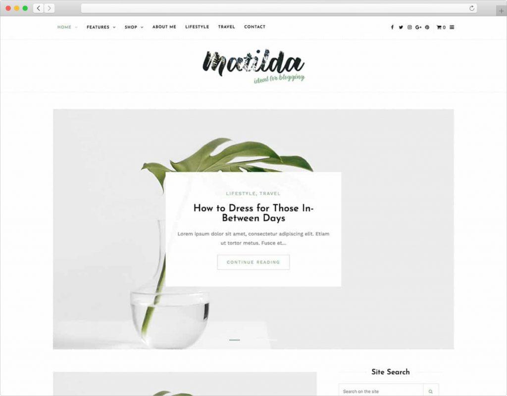 Matilda Lifestyle WordPress Blog Theme
