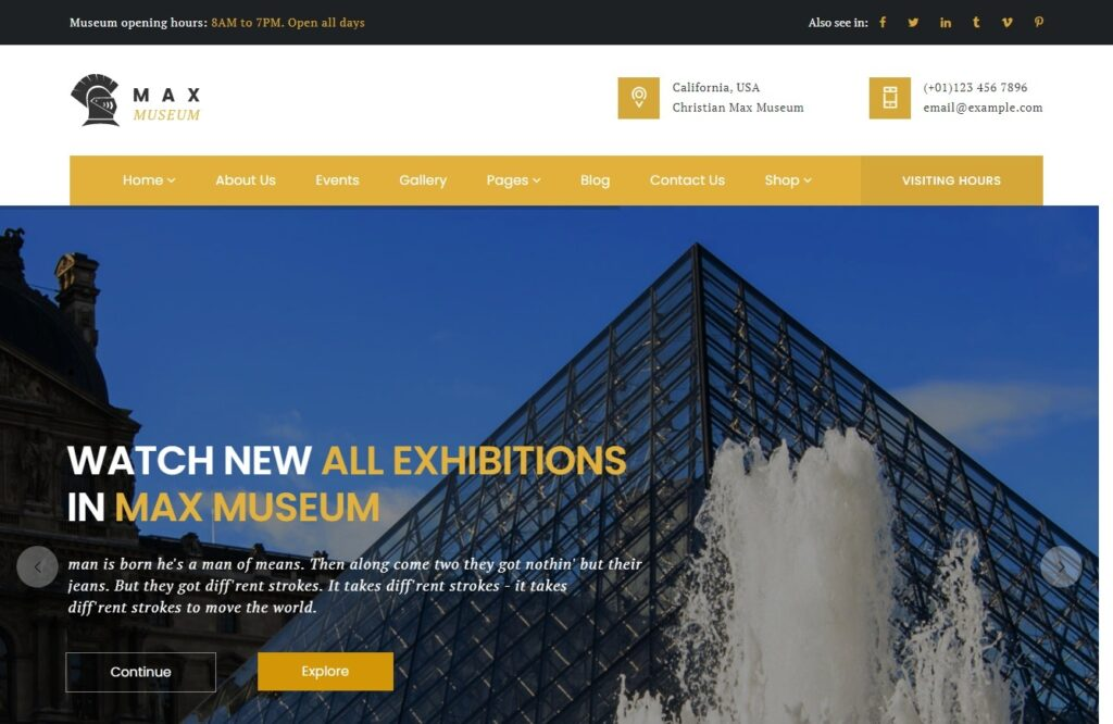Max Museum Art Galleries Theme for WordPress