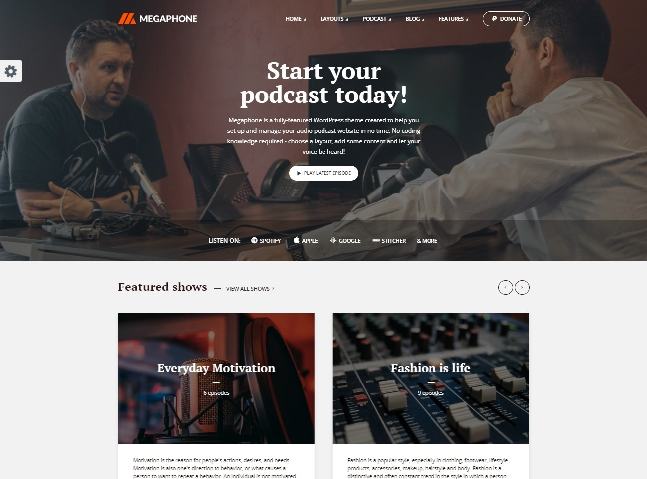 Megaphone Radio Station and Audio Podcast WordPress Theme