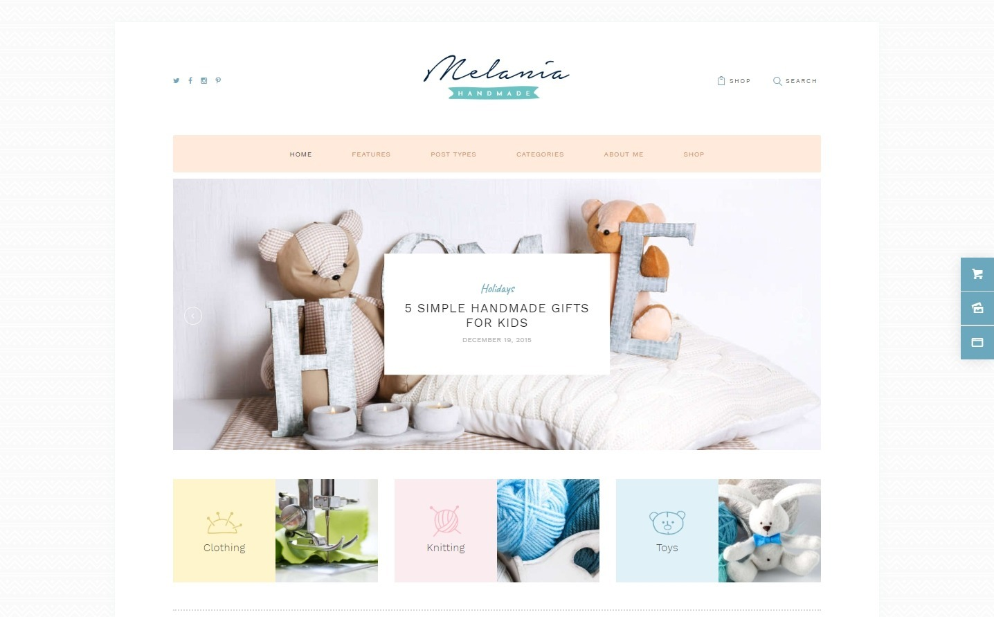 Melania Mommy Blog and Handmade Gifts Theme