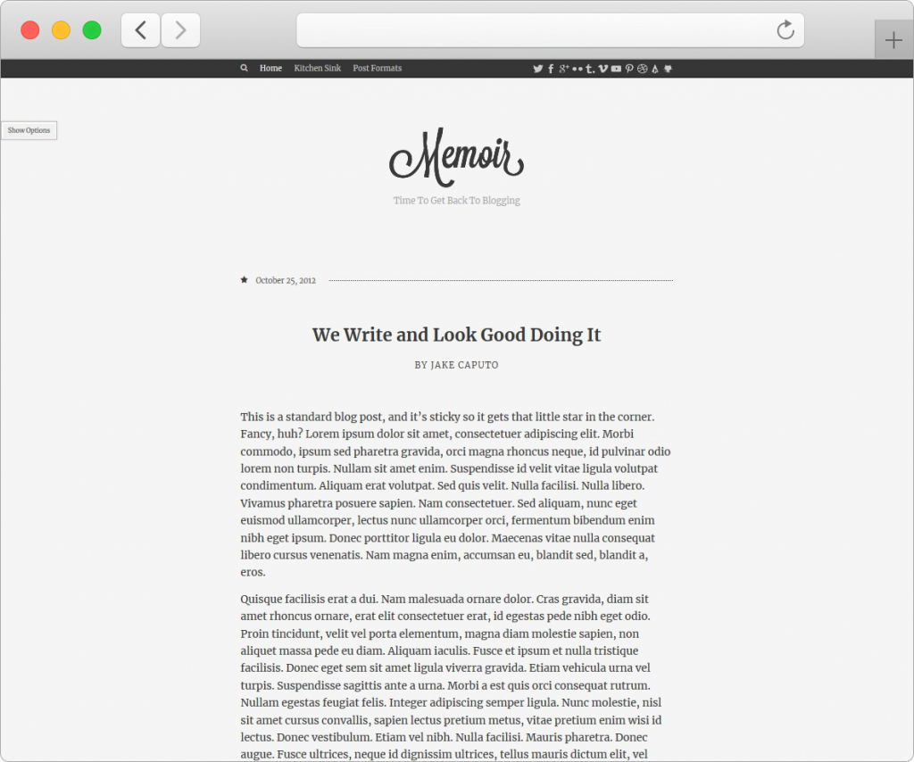 Memoir Tumblr Style WordPress Theme